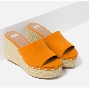 ZARA orange suede wedges